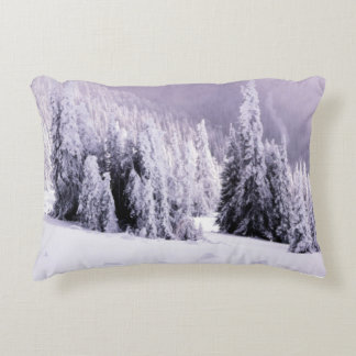 Snow covered accent pillow