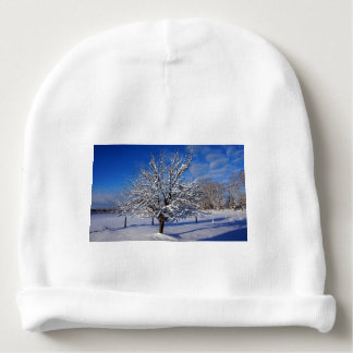 Snow covered Apple tree Baby Beanie