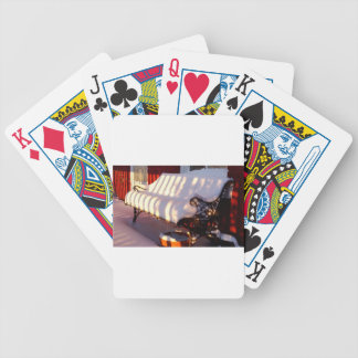 Snow covered bench bicycle playing cards