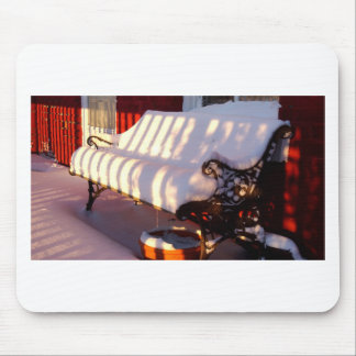 Snow covered bench mouse pad