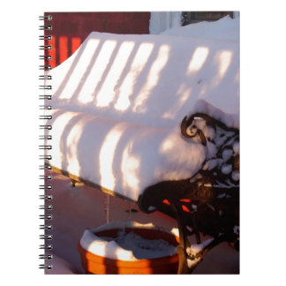 Snow covered bench notebook