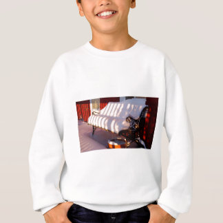 Snow covered bench sweatshirt