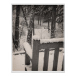 Snow Covered Benches Poster