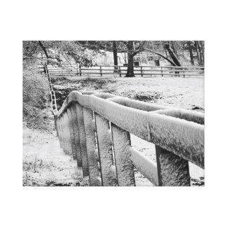 Snow Covered Cattle Fence Black & White Photograpy Canvas Print