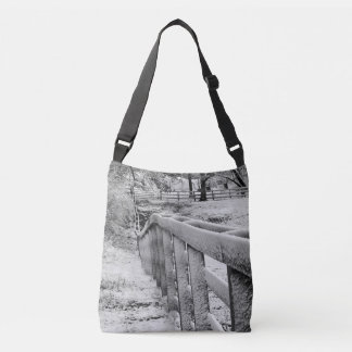 Snow Covered Cattle Fence Black & White Photograpy Crossbody Bag