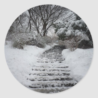 Snow Covered Central Park NYC Landscape Round Sticker