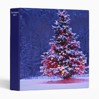 Snow Covered Christmas Tree 3 Ring Binder