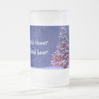 Snow Covered Christmas Tree Frosted Glass Beer Mug