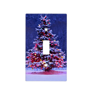 Snow Covered Christmas Tree Light Switch Cover