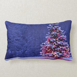 Snow Covered Christmas Tree Lumbar Pillow