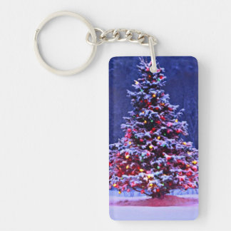 Snow Covered Christmas Tree on a Serene Night Keychain