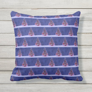 Snow Covered Christmas Tree Outdoor Pillow