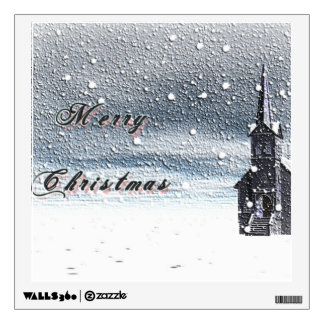 Snow Covered Church for the Christmas Holiday Wall Sticker
