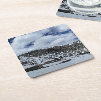 Snow Covered Donahue Pass - John Muir TraIl Square Paper Coaster