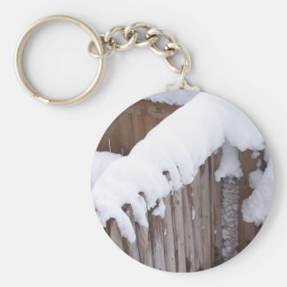 Snow Covered Fence Keychain