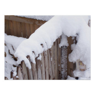 Snow Covered Fence Poster