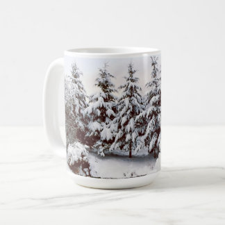 Snow covered fir trees mug