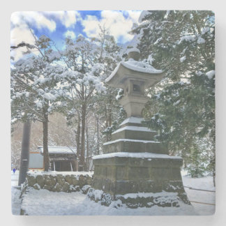 Snow-covered Japanese Lantern Stone Coaster