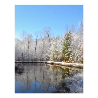 Snow covered landscape around the pond personalized letterhead