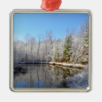 Snow covered landscape around the pond Silver-Colored square ornament