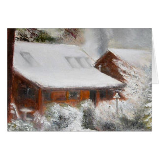 Snow Covered Lincoln Cabin Greeting Card
