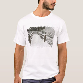 Snow-covered moon bridge, Japanese Garden T-Shirt