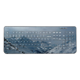 Snow Covered Mountain Range Wireless Keyboard