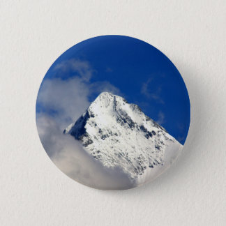 Snow covered mountain tip 2 inch round button