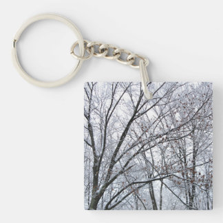 Snow-covered Oak Tree Double-Sided Square Acrylic Keychain