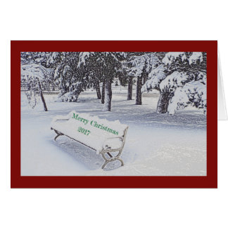 SNOW COVERED PARK BENCH/MERRY CHRISTMAS CARD