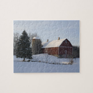 Snow Covered Red Barn in Winter Jigsaw Puzzle