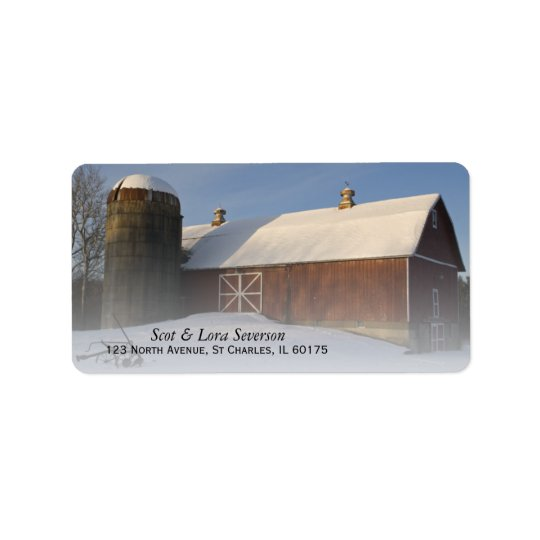 Snow Covered Red Barn Return Address Labels