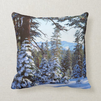 Snow-covered Red Fir trees in the High Sierra 2 Throw Pillow