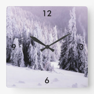 Snow covered square wall clock