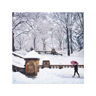 Snow-Covered Stairs In Central Park Canvas Print
