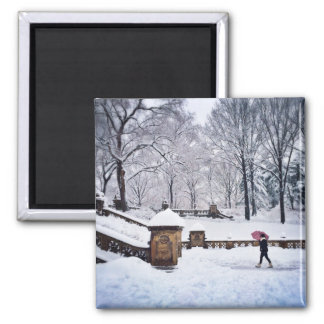 Snow-Covered Stairs In Central Park Square Magnet