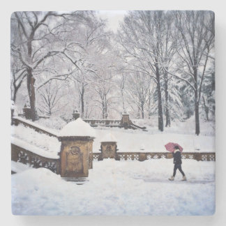Snow-Covered Stairs In Central Park Stone Beverage Coaster