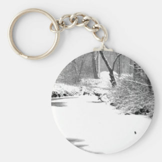 Snow Covered Stony Creek Basic Round Button Keychain