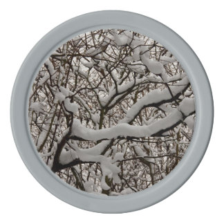 Snow covered tree branches set of poker chips