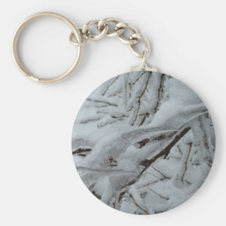 Snow Covered Tree Basic Round Button Keychain