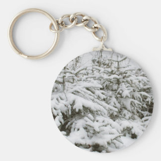 Snow Covered Trees Basic Round Button Keychain