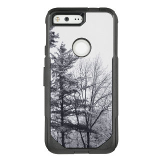 Snow-covered Trees: Black and White Photo OtterBox Commuter Google Pixel Case