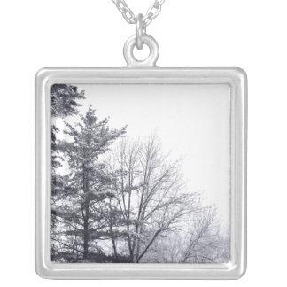 Snow-covered Trees: Horizontal Silver Plated Necklace