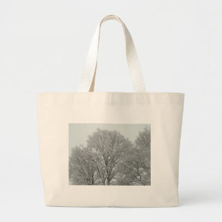 Snow Covered Trees Large Tote Bag