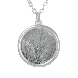 Snow Covered Trees Silver Plated Necklace