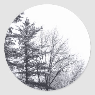Snow-covered Trees: Vertical Classic Round Sticker