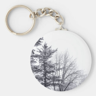 Snow-covered Trees: Vertical Basic Round Button Keychain