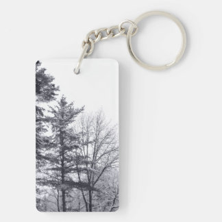 Snow-covered Trees: Vertical Double-Sided Rectangular Acrylic Keychain