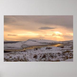 Snow Covered Trotternish Ridge Toward Sundown Poster