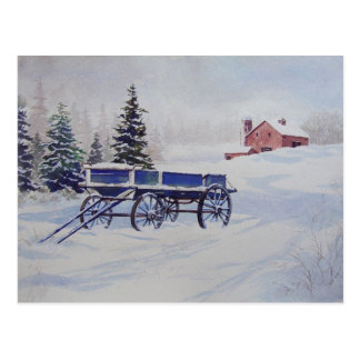 Snow Covered Wagon- postcard